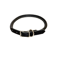 RedLine K9 Adjustable Rolled Ultra Leather Collar - Black