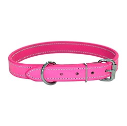 "1"" RedLine K9 Leather Dog Collar - PINK"